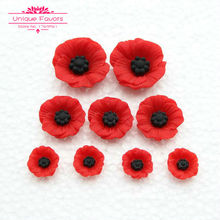50pcs Chic Resin Poppy Flower Cabochon Flat Back Artificial Red Flower Beads Miniature Poppy Flower Jewelry Accessory Home Decor(China)