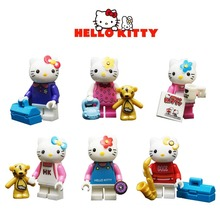 6pcs Hello Kitty Building Blocks Bricks Toys Small Cute Kitty Cat figures Action Figures Best Gift for Girls