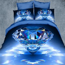 3D bedding set 4pcs Blue Diamond and flower duvet cover stereoscopic bed sets bedspread/bed sheet/bed linen queen size(China)