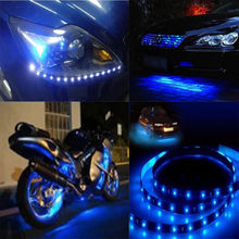 New 5x 12V Blue 15 LED 30cm Car Motor Vehicle Flexible Waterproof Strip Light fit for  For outline for the path and signs  etc.