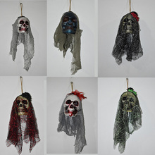 2017 Halloween Scary Skull Hanging Ornaments Ghost Skeleton Prop Wall Decorations Halloween Ghost Decoration for Bar Home Decora(China)