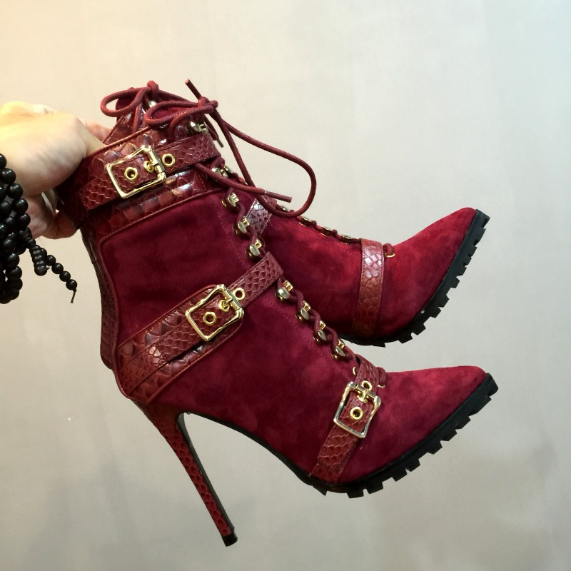 2017 New Fashion Women Cowhide Martin Boots Pointed Toe Thin High Heels Black Red 2 Colors Lace Up Sexy Lady Shoes<br><br>Aliexpress