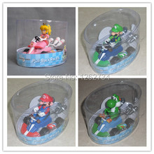 Free Shipping EMS 50/Lot New Super Mario Brothers Mario Luigi Yoshi Peach Princess Kart Pull Back Racer Car Figure Toy(China)