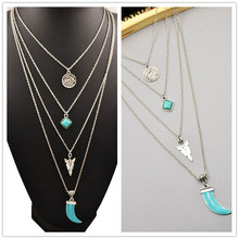 New fashion jewelry antique silver color moon blue stone multi-layer necklaces gift for women girl N1739