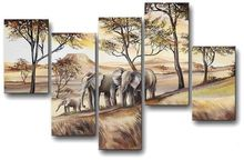 hand-painted wall art elephant sun home decoration Abstract landscape oil painting on canvas 5pcs/set  PZ-001