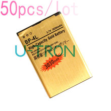 50pcs/lot 3030mAh BP-4L Gold Replacement Battery For Nokia E61i E63 E90 E90i 6650F N97 N97i E95 E71 E72 E73 E75 E55 Batteries