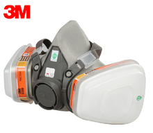 3M 6200+6009 Reusable Half Face Mask Respirator Mask Mercury Organic Vapor Chlorine Acid Gas Cartridge Vapor LT102