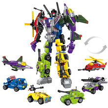 ENLIGHTEN Variant Bricks Destroyer Ares Deformation Toys Brinquedos BlocosTransform Building Blocks for Kids Boys 6 In One(China)