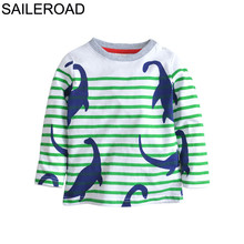 SAILEROAD 2-7Year Cartoon Dinosaur Children Kids Long Sleeve T-Shirts Spring Autumn Boys T-Shirts 100% Cotton Baby Boy's Clothes
