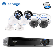 Techage 4ch 1080P HDMI POE CCTV Security System Video NVR Recorder Kit Dome Indoor/ Outdoor Waterproof 2.0MP Surveillance Camera