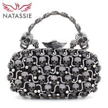 NATASSIE Black Fashion Clutch Bag With Gemstone Of Skull Personality Style Sisters Party Handbags Free Shipping L1082