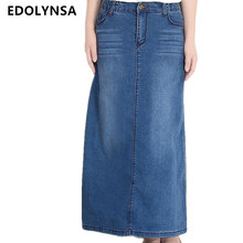 Women Long Denim Skirt With Pockets 2017 Casual Elastic Straight High Waist Denim Maxi Skirts Jeans Stretch Plus Size #S02