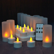12pcs/Set Unscented LED candle Remote controlled frosted Rechargeable Tea Light Electronic Candle set Church Wedding Decor-AMBER(China)