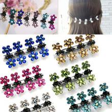12 PCS/set Girls Sweet Crystal Rhinestone Flower Mini Hair Claws Clips Pin Clamps Hair Clip Hair Accessories HOT 2017(China)