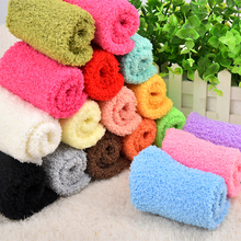 Buy Korean Women Floor Socks Winter Simple Solid Candy Color Socks Super Warm Soft Coral Fleece Christmas Gift Sock Female Clothing for $1.63 in AliExpress store