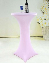 Free Shipping 10pcs Cheap Pink Lycra Spandex Cocktail Table Covers Wedding Bar Elastic Stretch Table Covers
