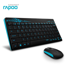 1Set Excellent Blue Black Rapoo Mini Slim USB Wireless Multimedia Keyboard and Optical Mouse Combo for Computer Android Smart TV(China)