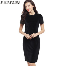 Buy N.XINZHE Velvet Sheath Dresses Women 2017 Summer Ladies O-Neck Slim Work Wear Knee Length Dress Elegant Pencil black vestidos for $7.69 in AliExpress store