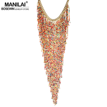 MANILAI Bohemian Style Design Women Fashion Charm Jewelry Resin Bead Handmade Long Tassel Statement Link Chain Choker Necklace(China)