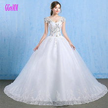 Buy Luxury Ivory Wedding Dresses Long 2018 White Wedding Gowns V-Neck Tulle Appliques CryStal Lace-Up Sexy Bridal Dress Custom Made for $141.51 in AliExpress store
