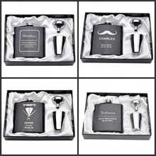 Personalized Engraved 6oz Hip Flask Set Stainless Steel Funnel Gift Box +2 Cups Bride Groom Best Man Usher Wedding Decor Favor(China)