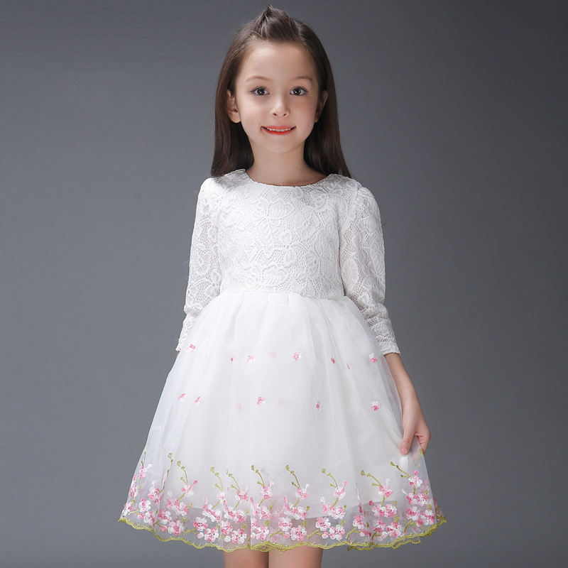 Girl Evening Dress Party Dresses Children Baby Spring Girl Dress Long Sleeved Flower Girl Lace Vestidios Pageant Weeding 2015<br><br>Aliexpress
