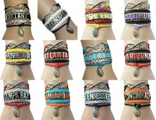 (10pcs/Lot) 12 USA States City Name Football Bracelets Leather Braided Wrap Football Fans Club Wristbracelets Friendship Gift