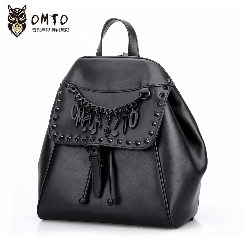 Top quality genuine leather women Backpack famous brands fashion  black  bag women genuine leather Letter rivet  Backpack<br><br>Aliexpress