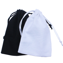 (50pcs/lot) 13*17cm/5*6.6inch black drawstring promotional gift bags cotton drawstring pouch recycle bag customize size & logo(China)