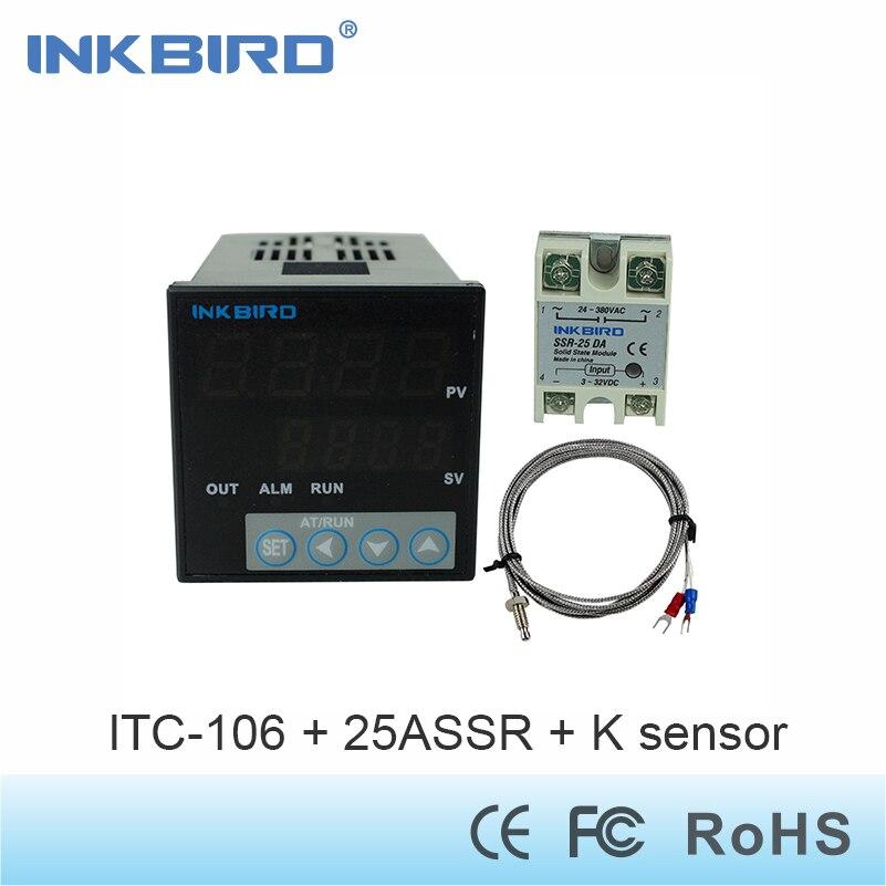 Inkbird ITC-106VH Digital PID Temperature Controller + K Sensor +25 A SSR/40A SSR 110v - 240v,Solid State Relay for Sous Vide<br>