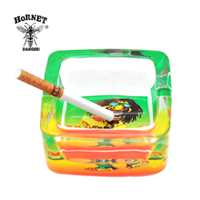 100% Pure Glass Square Cigarette Ashtray 70MM Reggae Pattern Glass Cigar Ashtray . Pattern Random(China)