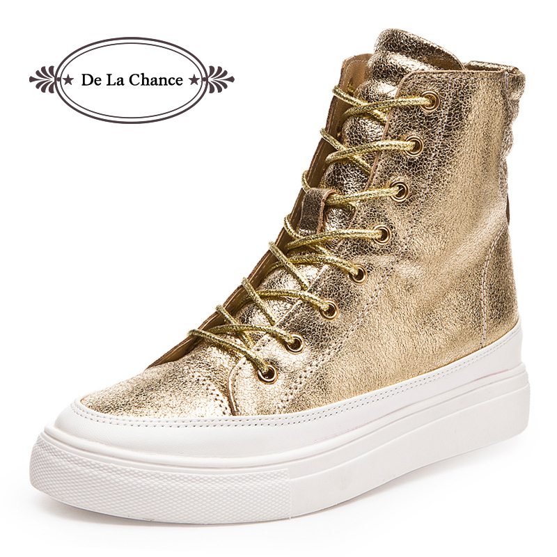 2016 Casual Shoes Women Wedge High Heel Boots High Top Punk Ladies Casual Snickers Wedge Platform Shoes Gold Silver Black<br>