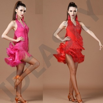 adult women sexy womens size latin dance dress ballroom standard short tango for adults dresses salsa tassel cha cha elegant