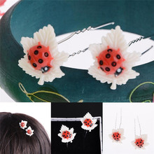 20pcs Cute Mini Ladybug Resin Leaf Wedding Bridal Bridesmaid Lovely Girls Pins Hair Clip Party U Shaped Jewelry Accessories(China)