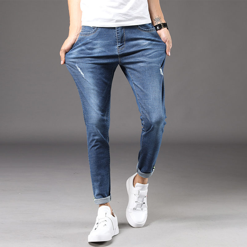 Biker Jeans Men 2018 Autumn New Wash Retro Fashion Blue Elastic Slim Large Size Comfort Casual Pants Trend Street Trousers