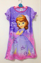Big girls clothes sofia princess well party dress for children clothes summer cotton free cut nightgowns children wear 3 - 14 ye