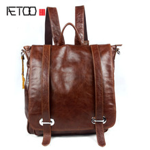 AETOO  Genuine Leather Shoulder Bag Wholesale Casual Fashion Shoulder Messenger Bag Tide Head Oil Wax