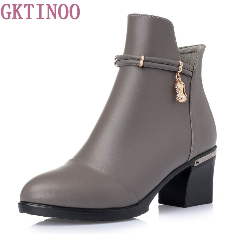 New Autumn Winter Thick Heel Boots Genuine Leather Ankle Shoes Vintage Platform Shoes Handmade Women Boots Lady Plus Size 35-43<br>