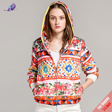 Free DHL 2017 New Women's Autumn Winter Coats High Quality Fashion Runway Designer Rose Floral Printed Zipper Hooded Overcoat(China)