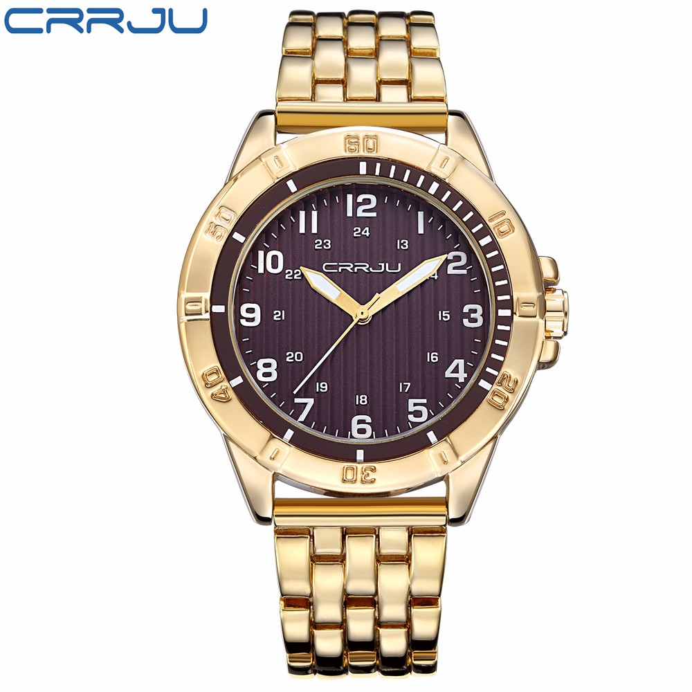 2016 New High Quality Quartz Watch CRRJU Luxury Brand Golden Stainless Steel Watches Fashion  Gift Men Wristwatches Reloj Hombr<br><br>Aliexpress