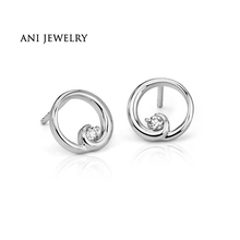 ANI 14K White Gold Women Wedding Earrings 0.2 CT Certified I/S2 Natural Diamond Hot Sale Engagement Stud Earrings Fashion Design(China)