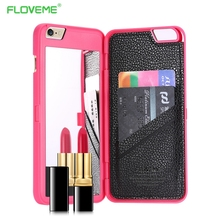 FLOVEME Mirror Back Case For iPhone 6 6s Plus Waterflow Grid Pattern Wallet +Card Slot Cover For Apple iPhone7 7 Plus Woman Bags