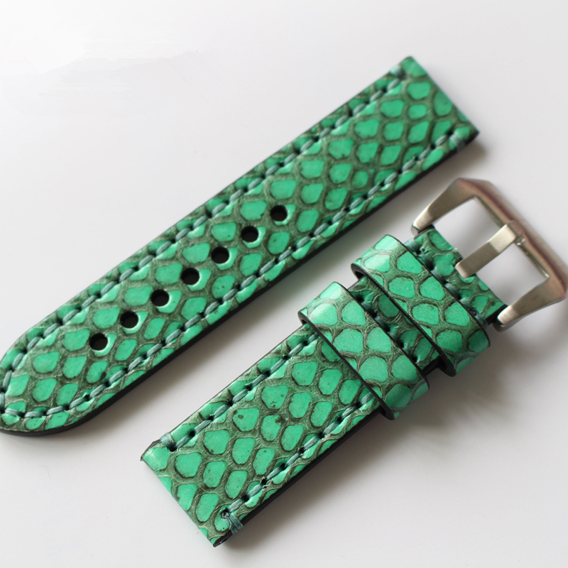 TJP 20mm 22mm 24mm 26mm Retro Vintage Green Genuine leather Python Skin Strap Bracelet For PAM Sub-mariner Pilot Watch bands <br>