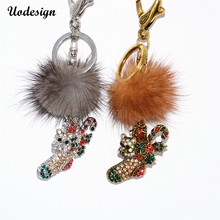 Christmas Fur Ball Shoes Keychain Bag Pendant Handbag Charm Key Ring Lovely Christmas Gift Jewelry(China)