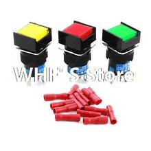 3Pcs DC 24V LED Lamp SPDT Self Locking Square Pushbutton Switch 16mm w Connectors