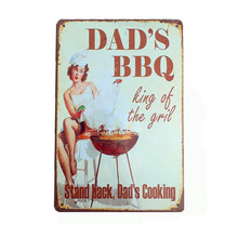 DAD'S BBQ Vintage Metal Signs Home Pub Kitchen Decorative Wall Decor Plate Metal Art Painting Retro Plaque Christmas Gift N126(China)