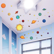 % Solar System Universe Wall Stickers For Kids Room Nursery PVC Posters Wall Decals Art Poster Space Galaxy Boys Bedroom Graphic(China)