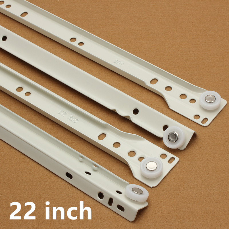 1 Pair 22 two sections slides runner spring ball bearing for cabinets/drawers/cuboards<br>