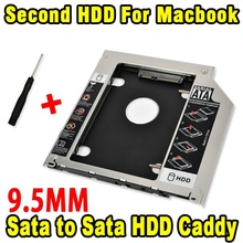 "Universal 9.5mm Second HDD Caddy 2nd SATA 3.0 Hard Disk Drive 2.5"" SSD Enclosure for Apple Macbook Pro Air etc CD DVD ROM"