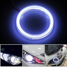 2 pieces Halo Rings Angel Eye car Headlight COB 60/70/80/90/100/110/120 mm Chips Headlight auto DRL LED For Motorcycle Car 12v(China)